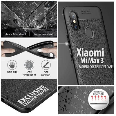 ^ Xiaomi Mi Max 3 - Leather Look TPU Soft Case