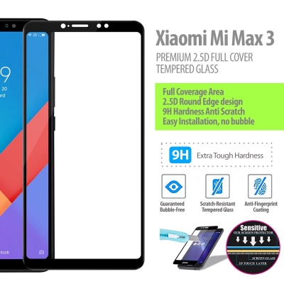 ^ Xiaomi Mi Max 3 - PREMIUM 2.5D Full Cover Tempered Glass