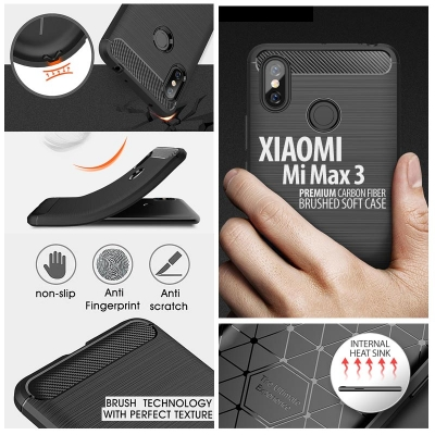 ^ Xiaomi Mi Max 3 - PREMIUM Carbon Fiber Brushed Soft Case