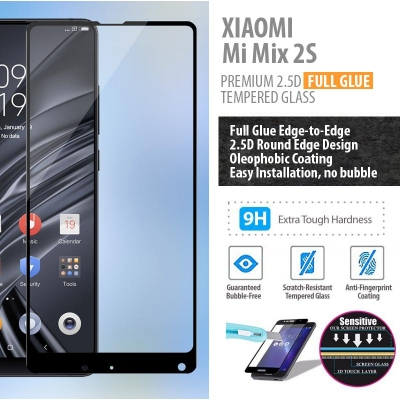 ^ Xiaomi Mi Mix 2S - PREMIUM 2.5D Full Glue Tempered Glass