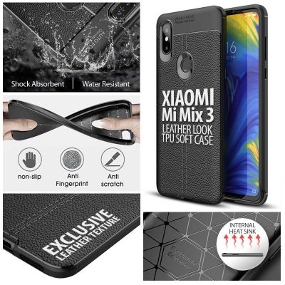^ Xiaomi Mi Mix 3 - Leather Look TPU Soft Case