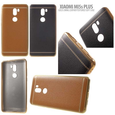 * Xiaomi Mi5s Plus - Gold Lining Leather Textured Soft Case