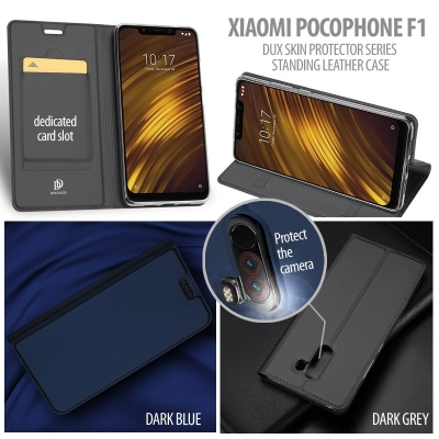 ^ Xiaomi Pocophone F1 - DUX Skin Protector Series Standing Leather Case