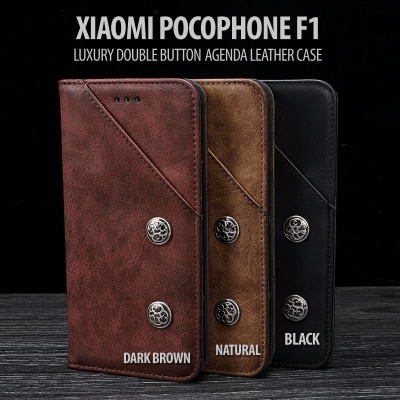 ^ Xiaomi Pocophone F1 - Luxury Double Button Agenda Leather Case