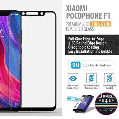 ^ Xiaomi Pocophone F1 - PREMIUM 2.5D Full Glue Tempered Glass