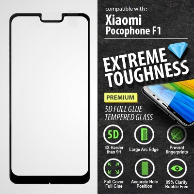 ^ Xiaomi Pocophone F1 - PREMIUM 5D Full Glue Tempered Glass