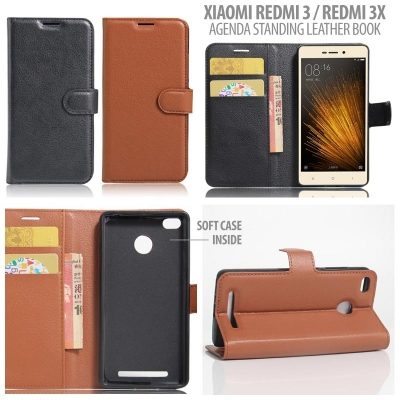 * Xiaomi RedMi 3 Pro / RedMi 3 / RedMi 3X  - Agenda Standing Leather Book