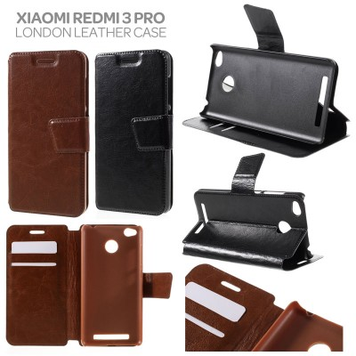 * Xiaomi RedMi 3 Pro / RedMi 3 / RedMi 3X -  London Style Leather Case