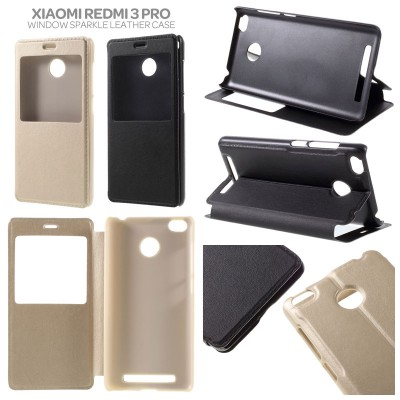 * Xiaomi RedMi 3 Pro / RedMi 3 / RedMi 3X  - Window Leather Case