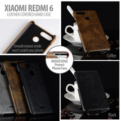 ^ Xiaomi Redmi 6 / Redmi 6A - Leather Covered Hard Case