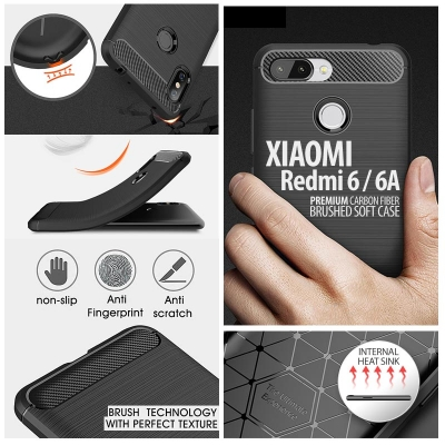 ^ Xiaomi Redmi 6 / Redmi 6A - PREMIUM Carbon Fiber Brushed Soft Case
