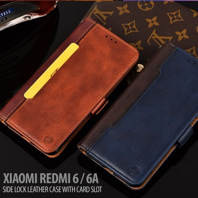 ^ Xiaomi Redmi 6 / Redmi 6A - Side Lock Leather Case with Card Slot