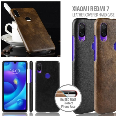 ^ Xiaomi Redmi 7 - Leather Covered Hard Case