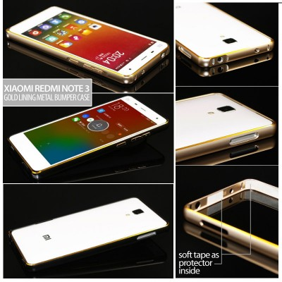 ^ Xiaomi RedMi Note 3 Pro / Redmi Note 3 - Gold Lining Metal Bumper Case