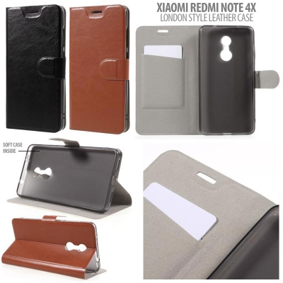 * Xiaomi RedMi Note 4X - London Style Leather Case }