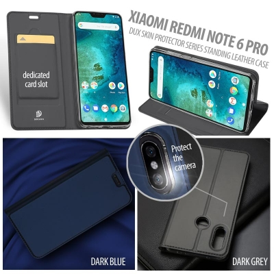^ Xiaomi Redmi Note 6 Pro - DUX Skin Protector Series Standing Leather Case