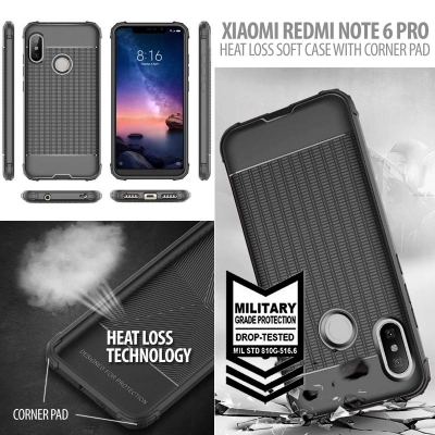 ^ Xiaomi Redmi Note 6 Pro - Heat Loss Soft Case with Corner Pad