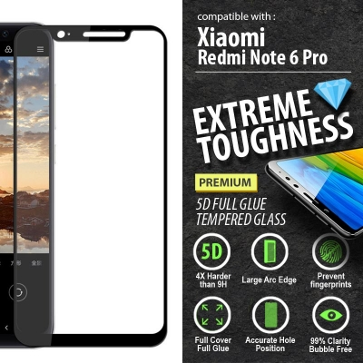 ^ Xiaomi Redmi Note 6 Pro - PREMIUM 5D Full Glue Tempered Glass