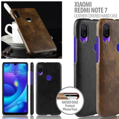 ^ Xiaomi Redmi Note 7 - Leather Covered Hard Case
