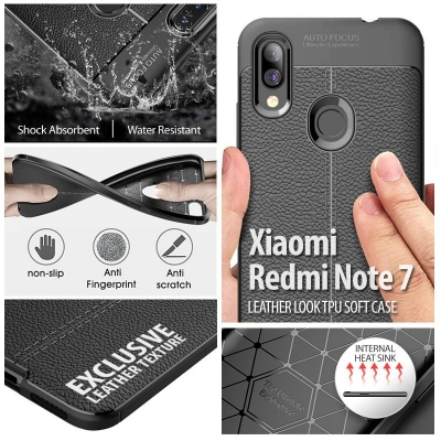 ^ Xiaomi Redmi Note 7 - Leather Look TPU Soft Case