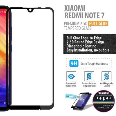 ^ Xiaomi Redmi Note 7 - PREMIUM 2.5D Full Glue Tempered Glass
