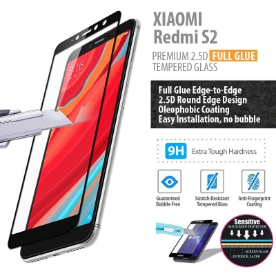^ Xiaomi Redmi S2 - PREMIUM 2.5D Full Glue Tempered Glass