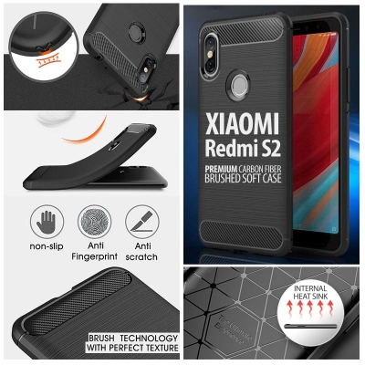 ^ Xiaomi Redmi S2 - PREMIUM Carbon Fiber Brushed Soft Case