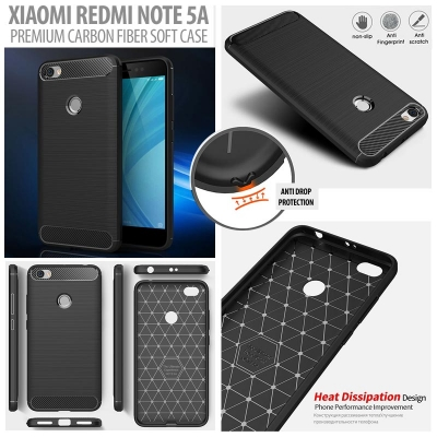 ^ Xiaomi Redmi Note 5A - PREMIUM Carbon Fiber Brushed Soft Case }