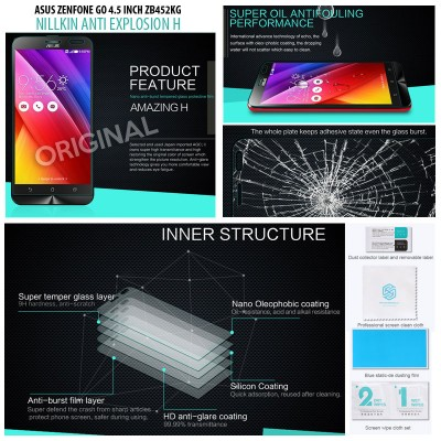 ^ Asus Zenfone Go 4.5 inch ZB452KG  2016 - Nillkin Anti Explosion H Tempered Glass Screen Protector