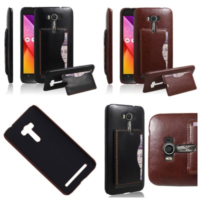* Asus Zenfone 2 Laser 5.5 ZE550KL - Leather Textured Standing Hard Case with Card Slot