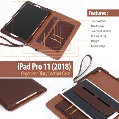 ^ iPad Pro 11 2018 / iPad Pro 11 2020 - Organizer Diary Leather Case