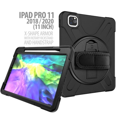 iPad Pro 11 2020 2018 11 Inch - X-Shape Armor with Rotary Kickstand and Hand Strap