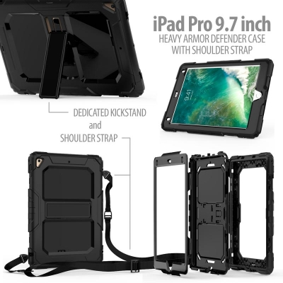 * iPad Pro 9.7 - Heavy Armor Defender Case with Shoulder Strap
