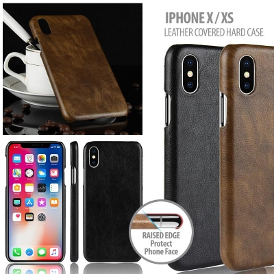 ^ iPhone X / XS - Leather Covered Hard Case