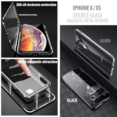 ^ iPhone X / XS - Magnetic Metal Bumper with Front Back Glass