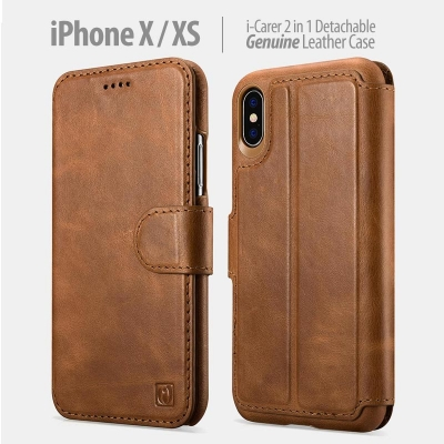 ^ iPhone X / XS - iCarer 2in1 Detachable Genuine Leather Case