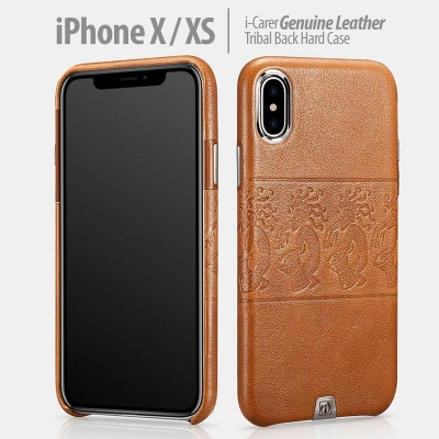 ^ iPhone X / XS - iCarer Genuine Leather Tribal Back Hard Case