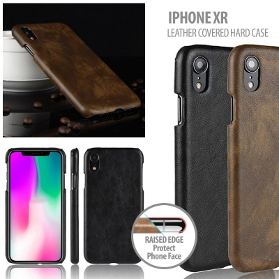 ^ iPhone XR - Leather Covered Hard Case