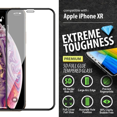 ^ iPhone XR - PREMIUM 5D Full Glue Tempered Glass