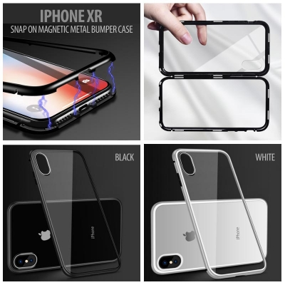 ^ iPhone XR - Snap On Magnetic Metal Bumper Case