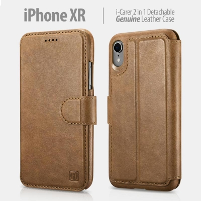 ^ iPhone XR - iCarer 2in1 Detachable Genuine Leather Case