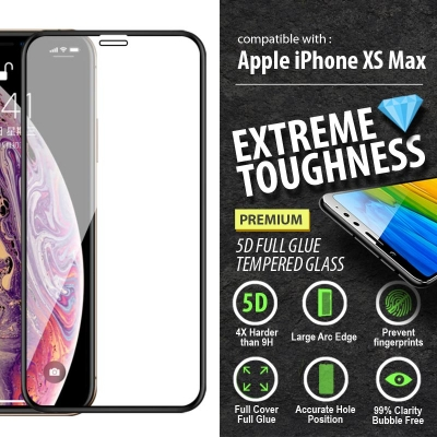 ^ iPhone XS Max - PREMIUM 5D Full Glue Tempered Glass