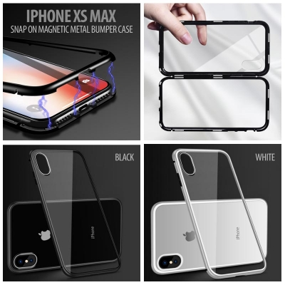 ^ iPhone XS Max - Snap On Magnetic Metal Bumper Case