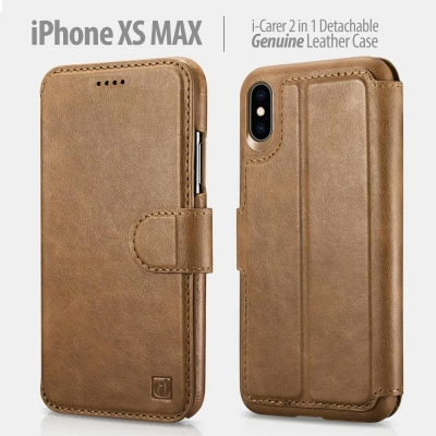 ^ iPhone XS Max - iCarer 2in1 Detachable Genuine Leather Case