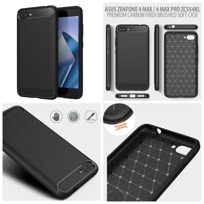 f8b0115fe Asus Zenfone 4 Max Pro ZC554KL - PREMIUM Carbon Fiber Brushed Soft Case