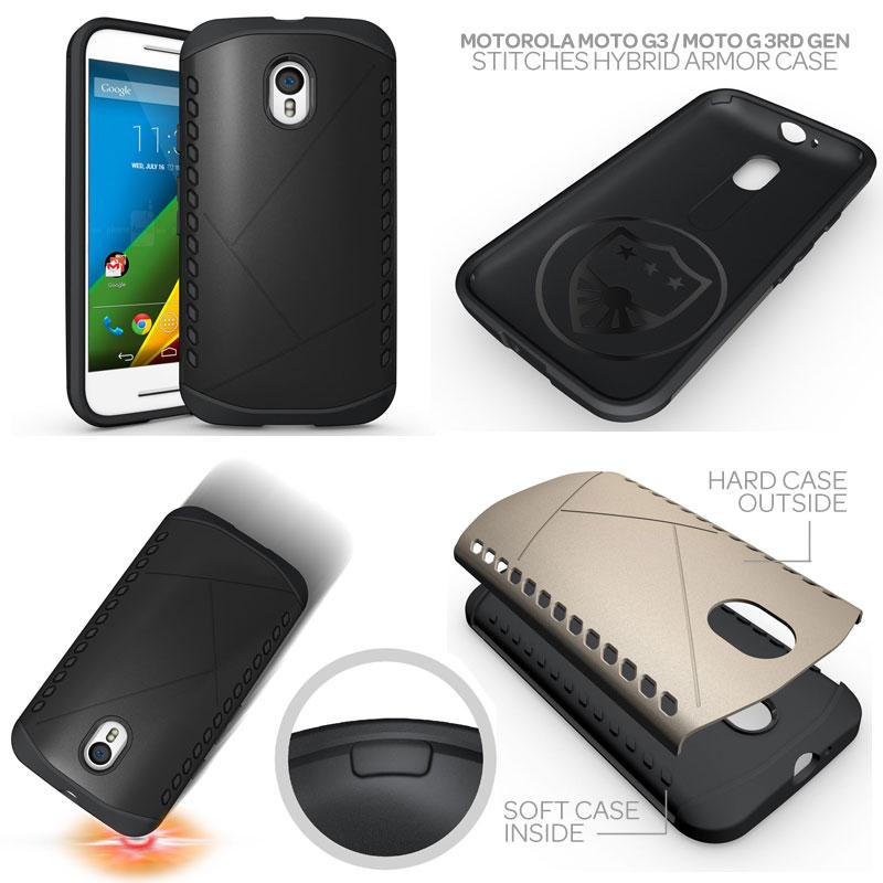 cheap for discount 274c9 8527e Motorola Moto G 3rd Gen / Moto G3 - Stitches Hybrid Armor Case ...