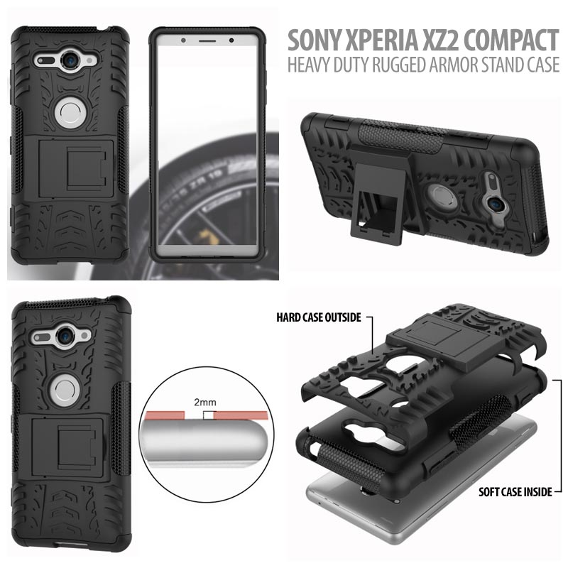 free shipping 1fa0f 95f71 Sony Xperia XZ2 Compact Heavy Duty Rugged Armor Stand Case