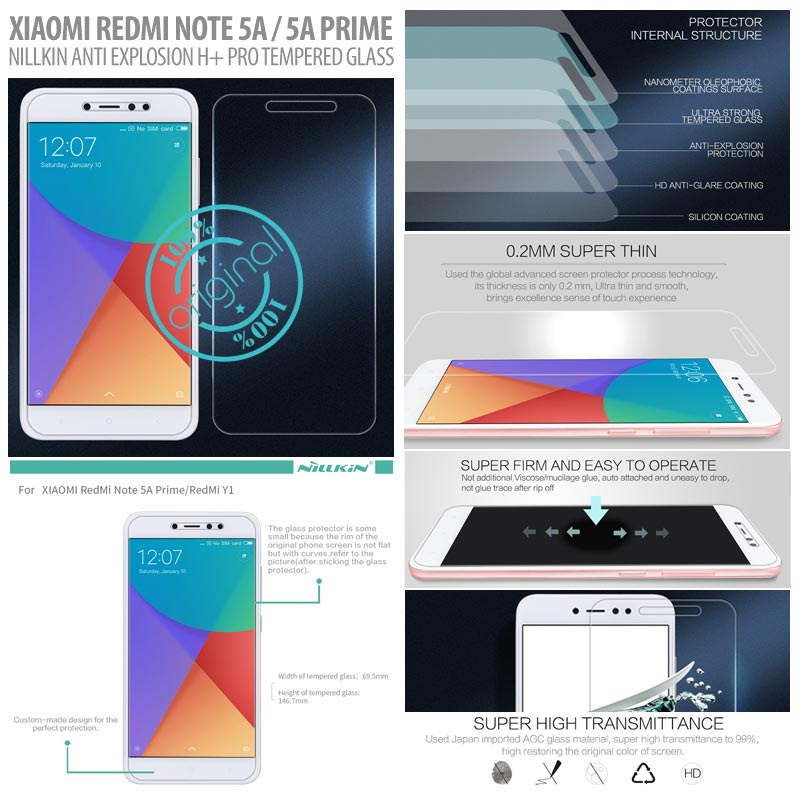 Xiaomi Redmi Note 5A / Redmi Note 5A Prime - Nillkin Anti-Explosion H Plus Pro Tempered Glass Screen Protector }