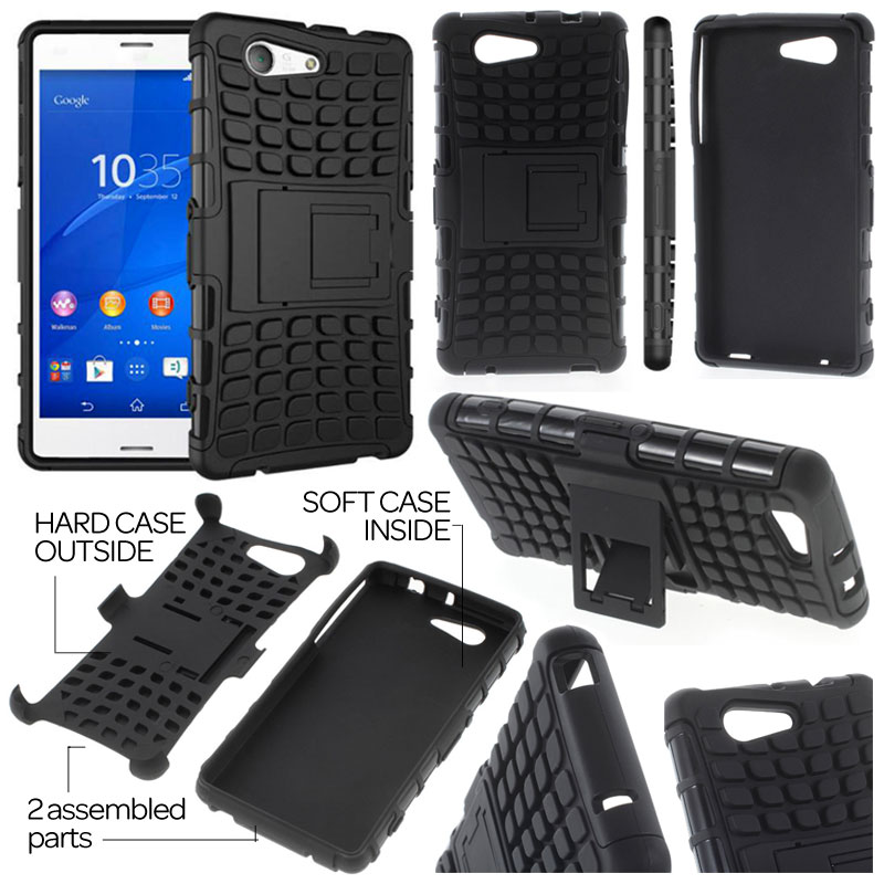 wholesale dealer 0ec00 d7e86 Sony Xperia Z3 Compact D5803 - Heavy Duty Rugged Armor Stand Case ...