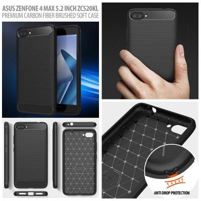 Asus Zenfone 4 Max 5.2 Inch ZC520KL - PREMIUM Carbon Fiber Brushed Soft Case }